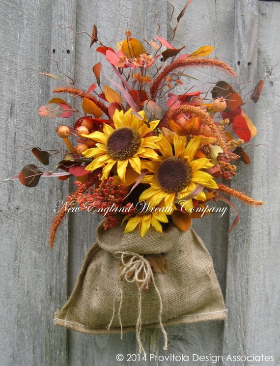 Fall Wall Bouquet, Fall Wreaths, Sunflowers, Autumn Floral Bouquet, Harvest, Thanksgiving, Halloween Decor