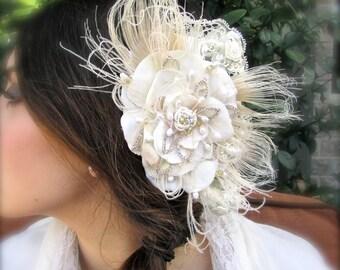 Bridal comb vintage inspired beige flower