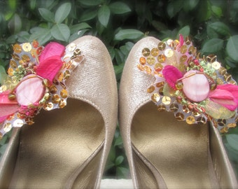 Wedding Shoe Clips Hot Pink and Gold Sequins