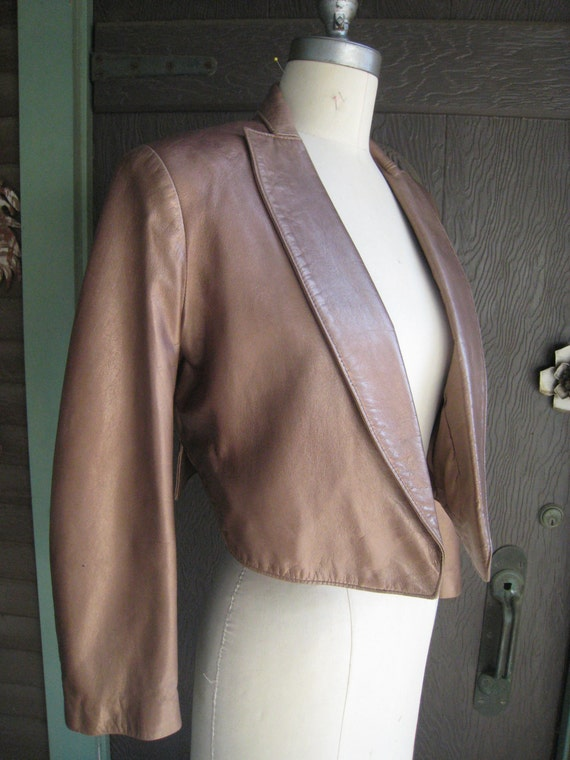 Gorgeous Metallic Bronze Colored 1980 Vakko Cropped Jacket Blazer with Padded Shoulders