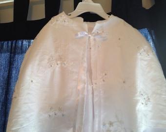 Christening Baptism Dedication Full Length Cape Handmade New Vintage Custom Made Swarovski Crystal and Pearl