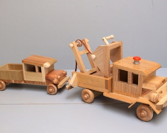 Wooden Children's Toy Tow Truck with Removable Towing Device Eco Friendly Reclaimed Wood Kid's Preschooler