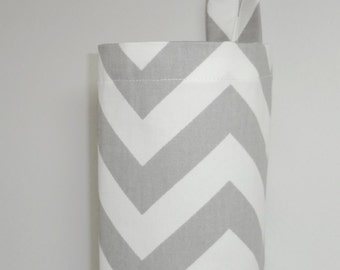 Plastic Bag Holder Grocery Bag Holder Storage Kitchen Bag Storage Grey Chevron Zig Zag
