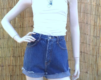 26 inch waist......High Waisted  Blue Denim Shorts Vtg 80's
