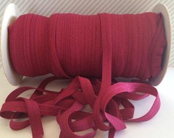 "Burgundy Wine FOE 3/8"" inch Wine #275 Fold Over Elastic Solid shiny FOE 5 or 10 yards DIY Headbands Hair Ties Satin Soft Elastic trim"