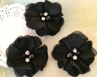 "Black  Mini Chiffon Flowers with rhinestones & pearl centers - Small  2"" Whitney shabby chiffon layered flowers wholesale flowers"