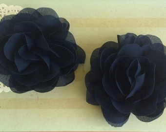 "Navy Soft Petal Rose Flowers Flowers (2 pieces) 3"" Chiffon flower Wholesale Flowers Headband Flowers Fabric Flower Sara embellishment"
