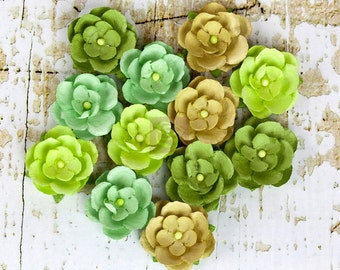 "Paper Flowers Avante Spring 566661 Mulberry paper flowers 1"" size green (12 pcs) embellishment flower floral card invitation wedding cake"