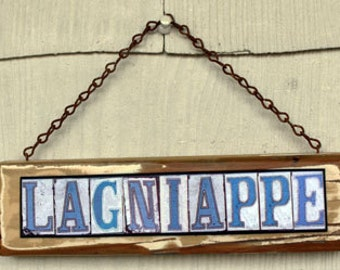New Orleans Art, Street Signs, Lagniappe, Mixed Media, Salvage Wood, French Quarter, gift under 40, French for a little extra, trendy signs
