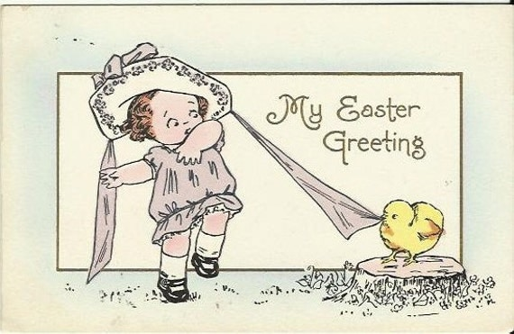 "Antique Postcard ""My Easter Greeting"" So Adorable Cute Little Girl with Merry Widow like Easter Hat Chick Tugging on Ribbon Early 1900s"