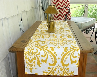 Choose your Table Runner, Yellow Table Runner - Yellow Wedding Linens - Yellow Table Topper - Damask White & Yellow Table Runner