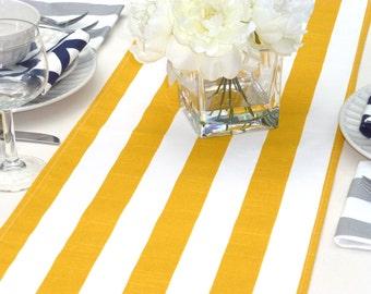 Yellow Table Runner - Yellow Wedding Linens - Yellow Table Topper - Striped Yellow Table Runner
