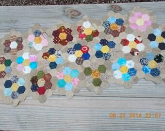 mini hexagon handquilted tablerunner