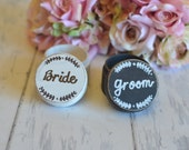 Personalized Wedding Ring Boxes-(Set of Two) with YOUR CHOICE of Short Inscription- With Burlap Pillows. Choice of Colors. Ships Quickly.