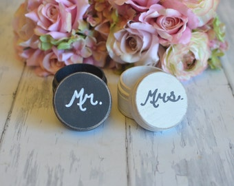 Customized Ring Boxes-(Set of Two Mr. and Mrs.) - With Burlap Pillows. Your choice of Colors. Ships Quickly.