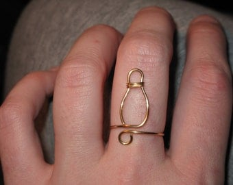 Wire Wrapped Bowling Pin MADE to ORDER Adjustable Ring