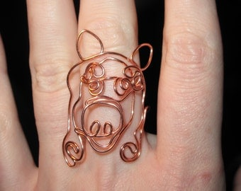 Wire Wrapped Miss Piggy MADE to ORDER Ring