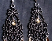 Kristi- Traditional Norwegian Antique Silver Flowers Solje Style Earrings with Golden Drops