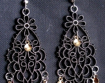 Kristi- Traditional Norwegian Antique Silver Flowers Solje Style Earrings with Golden Drops