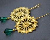 Raw brass boho earrings, Emerald green drop earrings, gold filigree earrings teal dangle earring baroque jewelry trendy earrings gypsy style