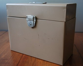 Vintage Tan Metal File Box w/ Key - Industrial - Mid Century - Desktop Organizer