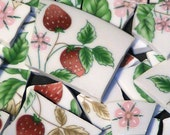 Mosaic Tiles 90 Strawberry Fields Pink Flowers & Strawberries FREE SHIPPING Tesserae Cut Nipped Dinnerware Flowered Mosaics
