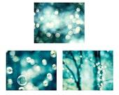 Teal Abstract Bokeh Photography Set, aqua blue turquoise sparkle photos dark sparkly circles wall print set bubble photograph modern artwork