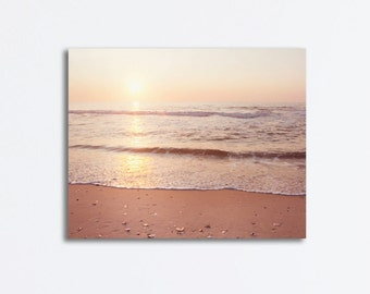 "Ocean Canvas Wrap - beach photography landscape seascape print sunrise sea peach beige light brown seashore wall art, ""A New Beginning"""
