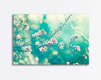 Nature Canvas Photography - turquoise teal aqua pink floral branches canvas gallery wrap flower branch wall art print, A Piece of My Soul""