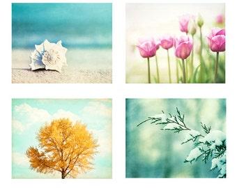 Four Seasons Photography Set - 4 Nature Photographs - winter spring - summer fall autumn - 4 seasons art prints - aqua blue mint green pink