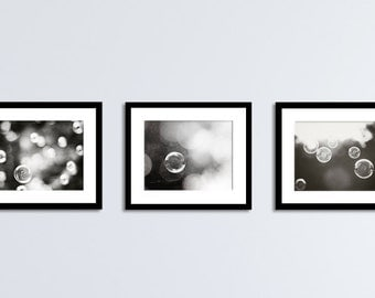 Black and White Art Set - bathroom laundry room wall art, soap bubble photos, dark grey pictures, modern photography, neutral photographs