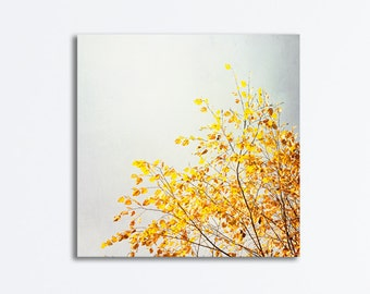 """Yellow, Gray Canvas Photography, grey tree branches nature wrapped canvas print botanical white branch wall art photo print, """"Yellow & Grey"""""""