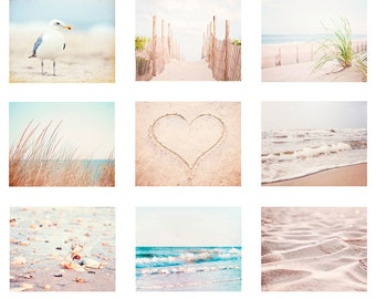Pale Beach Photography Set, white cream light beige brown coastal prints 9 nine 11x14, 8x10, 5x7 ocean sea dune blue seashore wall art shore