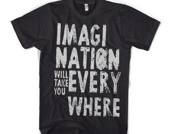 Imagination will take you everywhere - Einstein Quote - Typographic Tshirt - Mens