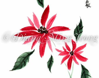 "Watercolor Chinese Brush Painting Card ""Poinsettias"""