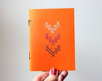 Chevron - Pocket notebook - 100% Handmade - Embroidered - Orange tangerine