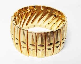 Vintage Statement BRACELET - Gold Tone Expansion Bracelet from Hong Kong