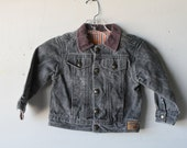 vintage BOYS black denim BIKER jean jacket childern's coat