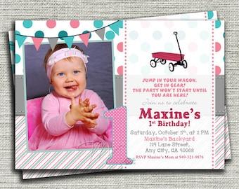 Little Pink Wagon Birthday Invitation, Pink Wagon Birthday Invitation, Aqua Blue and Pink Wagon Birthday Invite-Digital File You Print