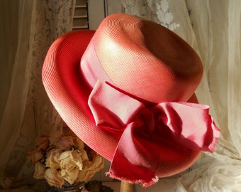 Ladies Pink Hat With Wide Brin and Pink Grosgrain Ribbon and Bow Original by Dajon New York Vintage Ladies Pink Hat