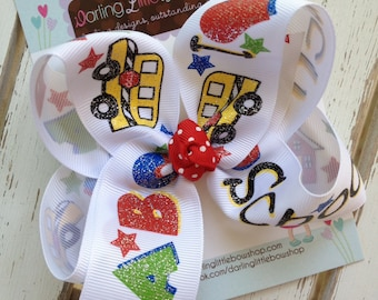 Back to School Bow --- I Love School  --- large bow with school house, ABC, bus ribbon -- cute bow to start kindergarten or preschool