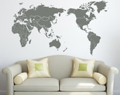 Wall Decal Map with Countries Borders Vinyl Sticker