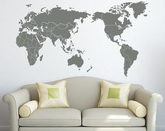 Map vinyl decal etsy wall decal map with countries borders vinyl sticker sciox Choice Image