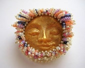 Beaded Sun/Moon Face Brooch