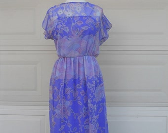 Vintage 70s Purple Chiffon Maxi Dress w/Tulip Sleeves