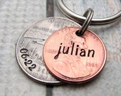 Personalized KeyChain - Hand Stamped KeyChain - Lucky Penny - State Coin Stamped Lucky Penny Key Chain Personalized Penny with State Quarter