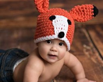 Baby Boy Baby Girl Crochet Hat Fox Beanie Photo prop Ready Item
