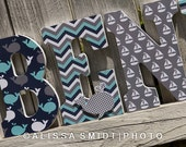 Custom Nursery Wooden Letters, Nursery Decor, Baby - Nautical Theme Custom Letters (whale boat anchor navy grey teal mint aqua) 9 Inch