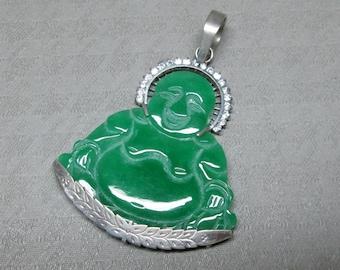 18k White Gold Jade Buddha pendant with white sapphires