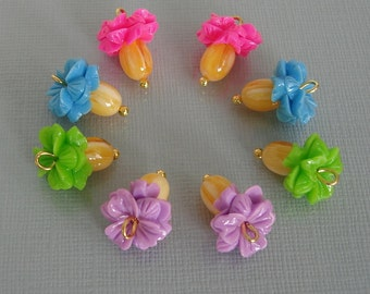 6pcs-Vintage Style Acrylic Beads Charm 15x11mm 1 loop.